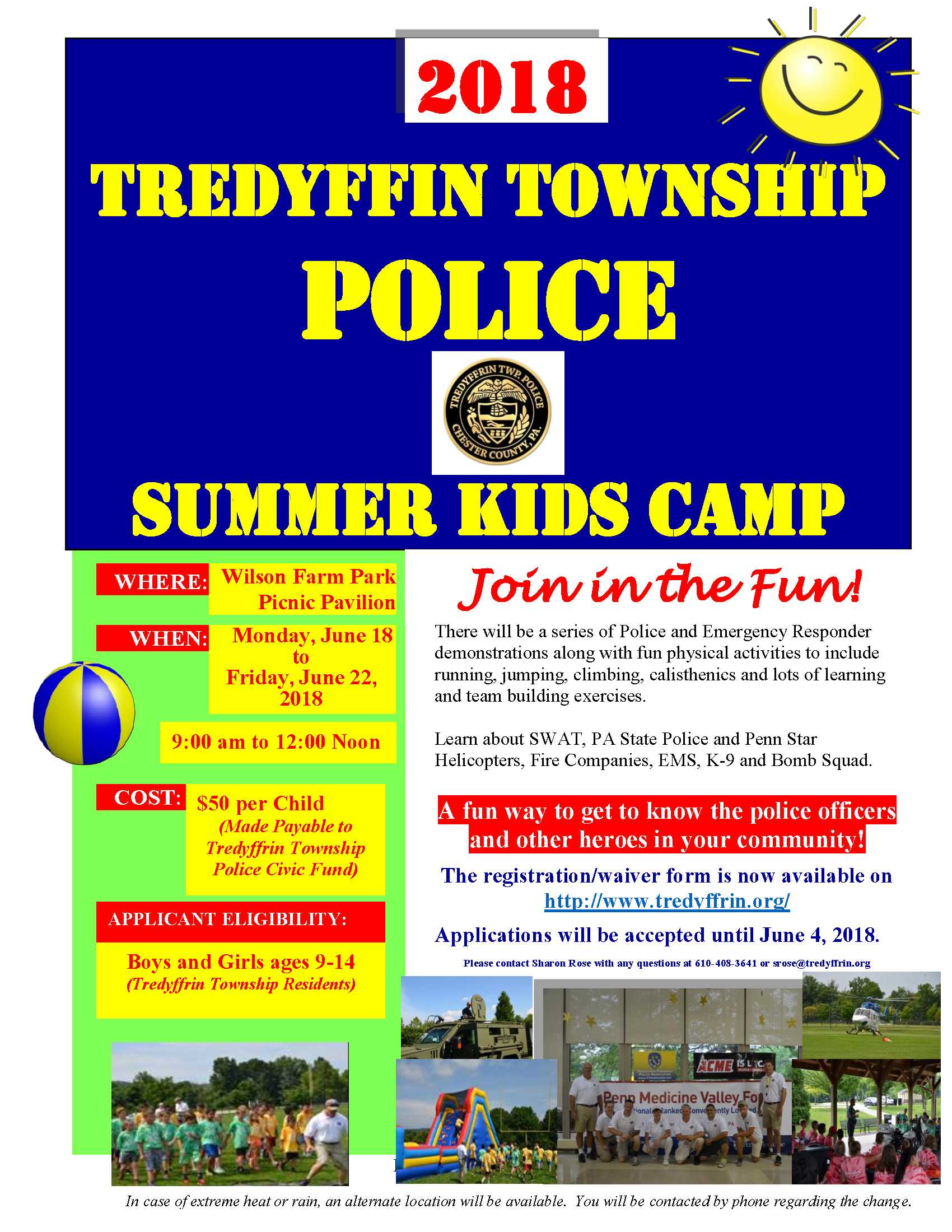 TTPD summer camp 2018 flyer