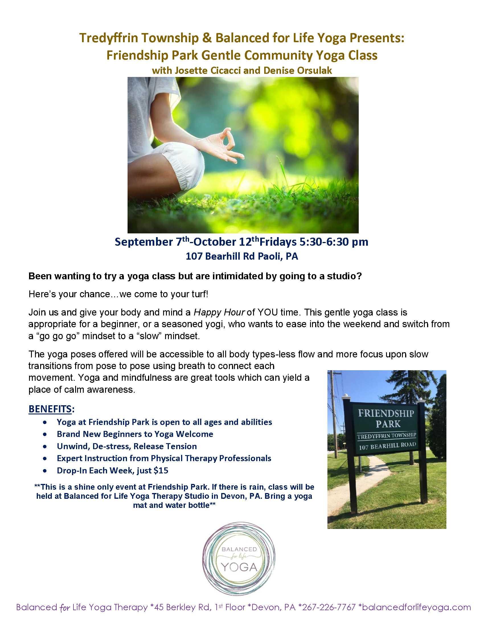B4l Tredyffrin Township Yoga Flyer