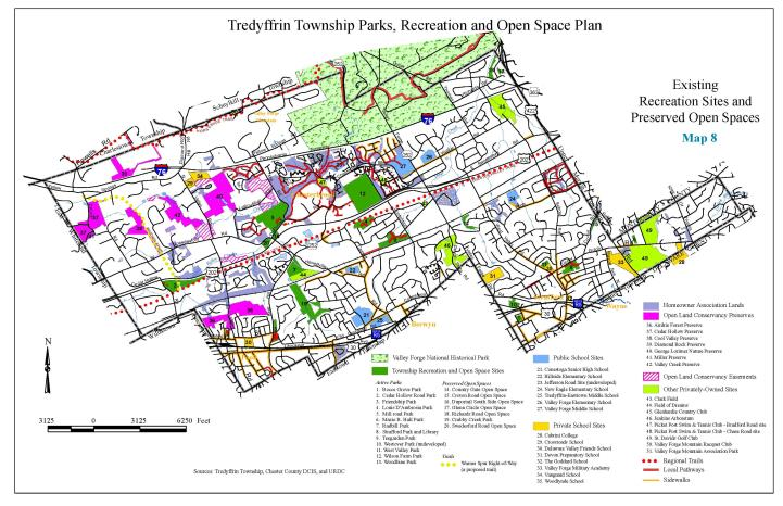 Map 8 - Tredyffrin Existing Recreation Sites & Preserved Open Spaces